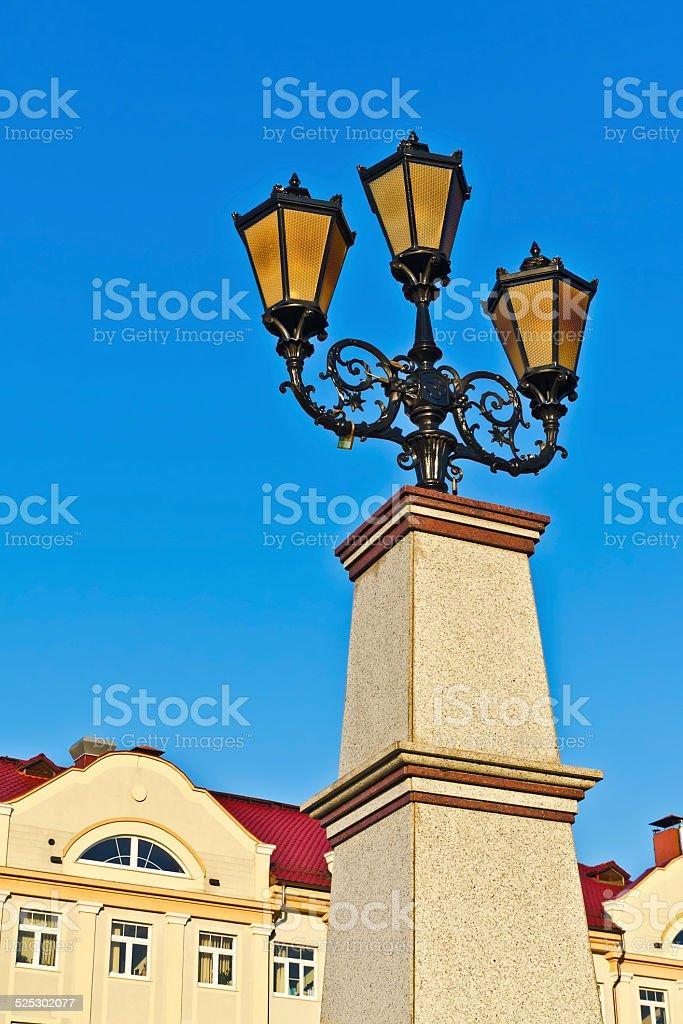 Fishing village - lights and roof... Kaliningrad, Russia stock photo