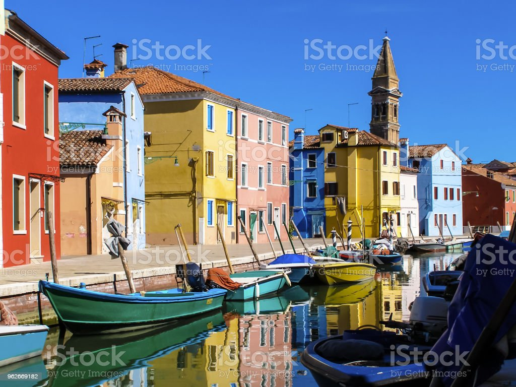 Fishing Village On Burono Island Italy Stock Photo