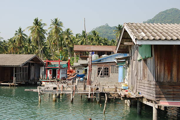 Fishing Village One of the most touristic villages on Ko Chang Island in Thailand near Cambodia. koh chang stock pictures, royalty-free photos & images