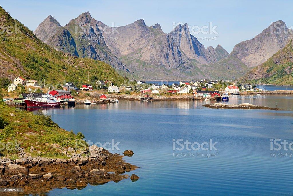 Fishing village Reine, Norway stock photo