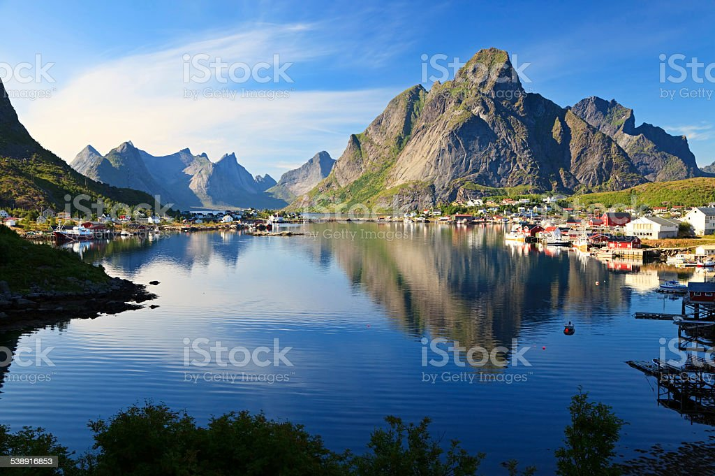 Fishing village Reine, Norway stock photo