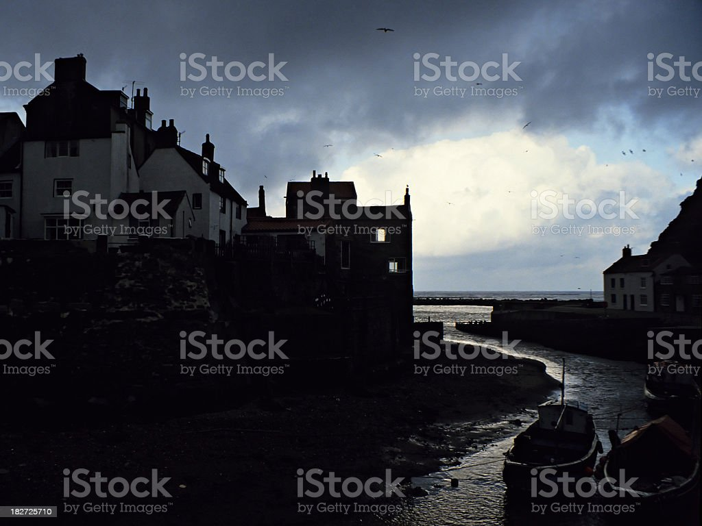Fishing Village Silhouette stock photo