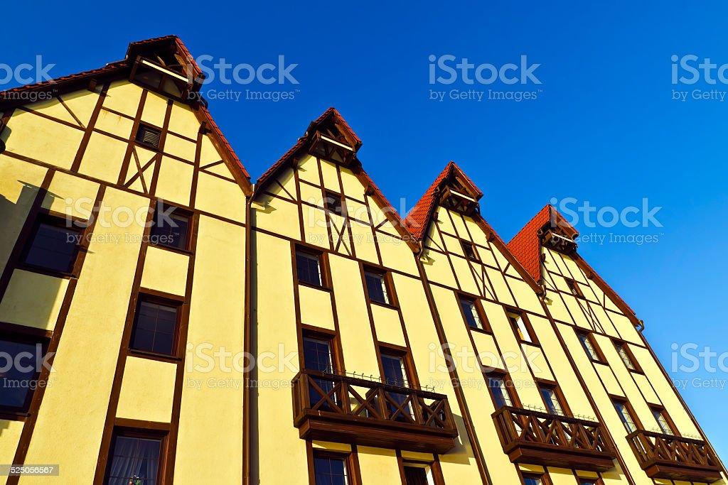 Fishing village - stylization German architecture 19th century stock photo