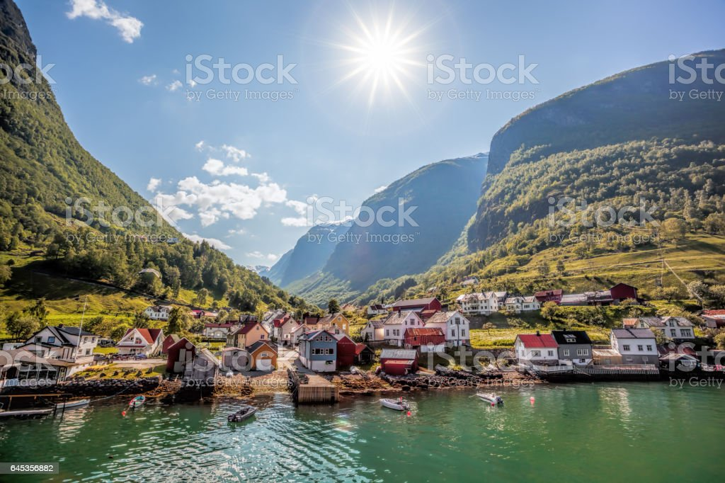 Fishing village Undredal close the fjord near the Flam in Norway bildbanksfoto