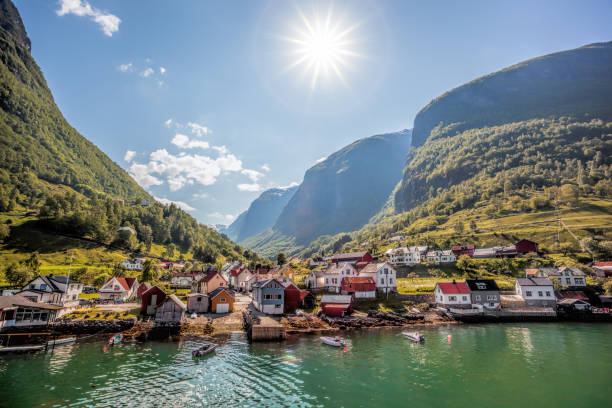Fishing village Undredal close the fjord near the Flam in Norway Beautiful Fishing village Undredal close the fjord near the Flam in Norway norwegian culture stock pictures, royalty-free photos & images