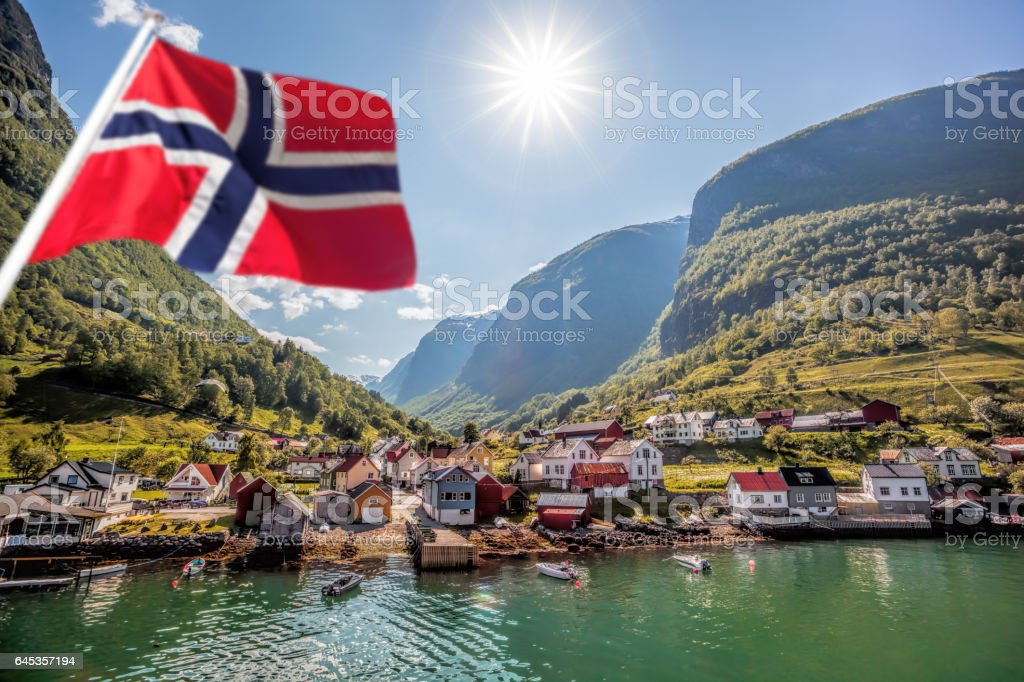 Fishing village Undredal close the fjord near the Flam in Norway stock photo