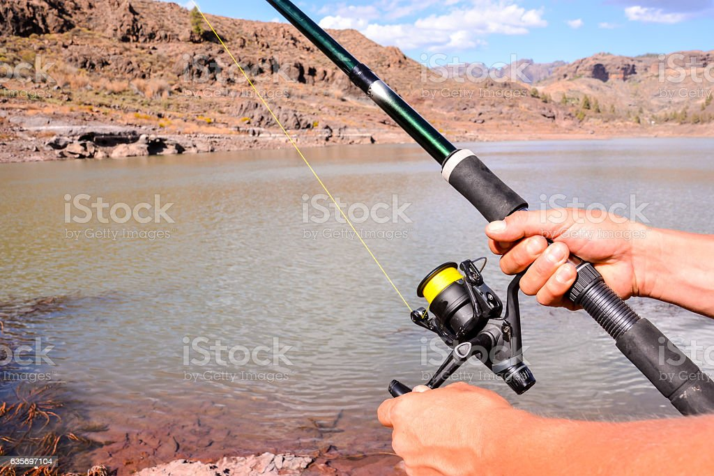 Fishing with rod on lake royalty-free stock photo
