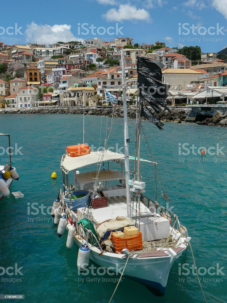 Fishingboat in Parga stock photo