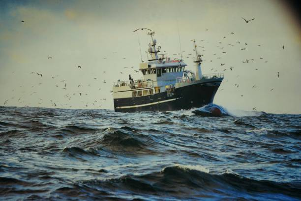 fishingboat vessel fishing in a rough sea - fishing boat stock pictures, royalty-free photos & images