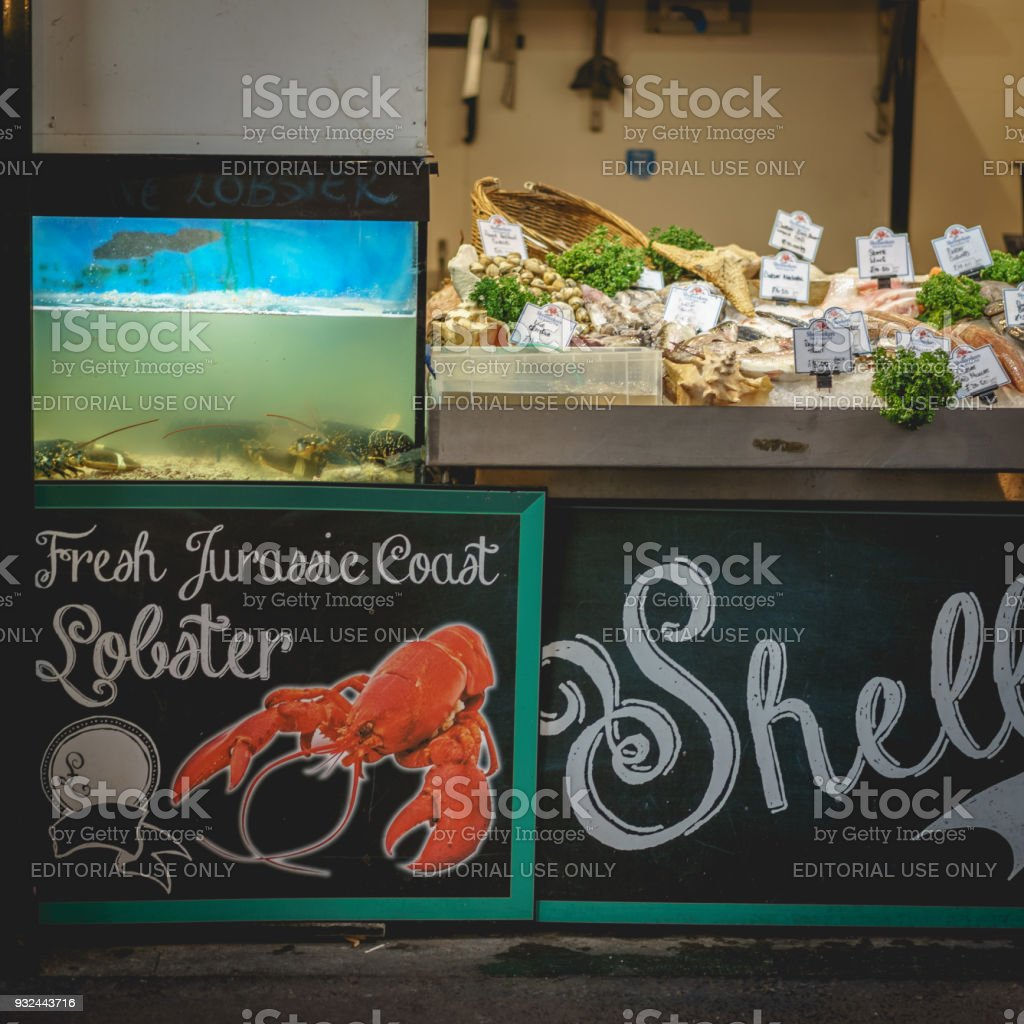 Fishmonger stall in Borough Market in London (UK). stock photo