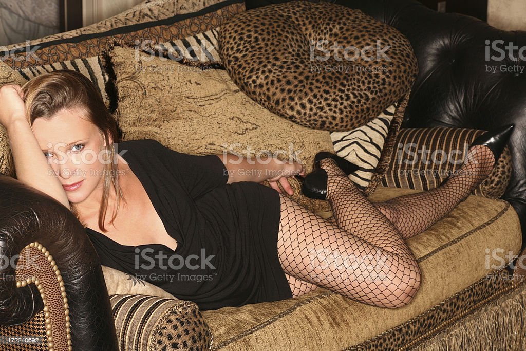 Fishnet Stockings and Pillows royalty-free stock photo