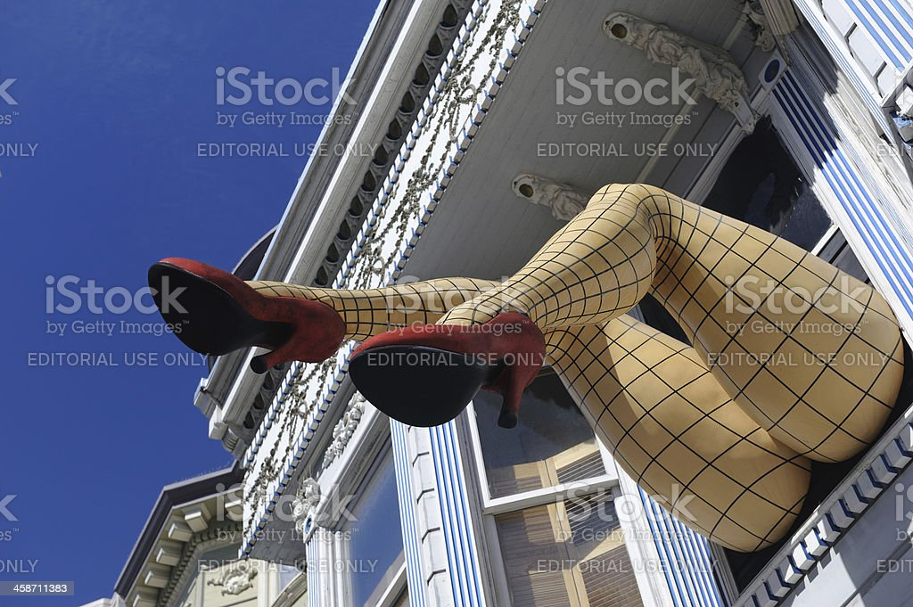 Fishnet Stockings and Red Shoes in Haight-Ashbury, San Francisco, California stock photo