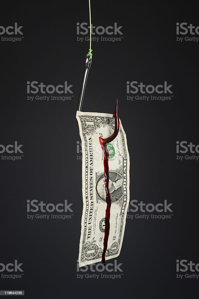 Fishook and money on gray background stock photo