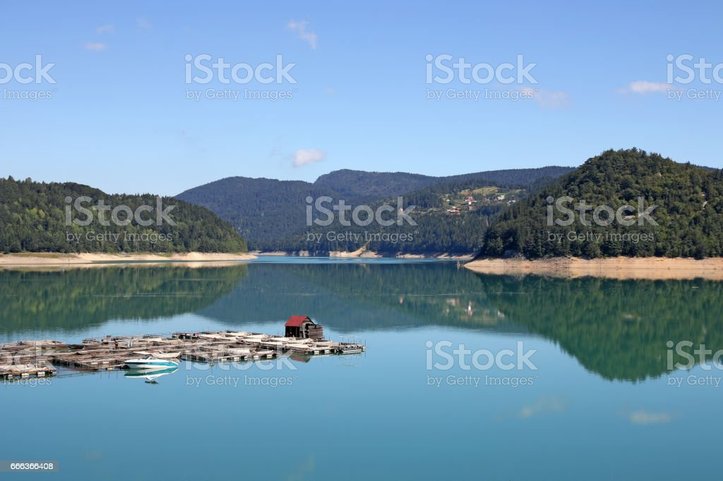 fishpond on lake nature landscape stock photo
