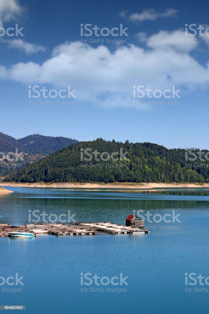 fishpond on mountain lake nature landscape stock photo