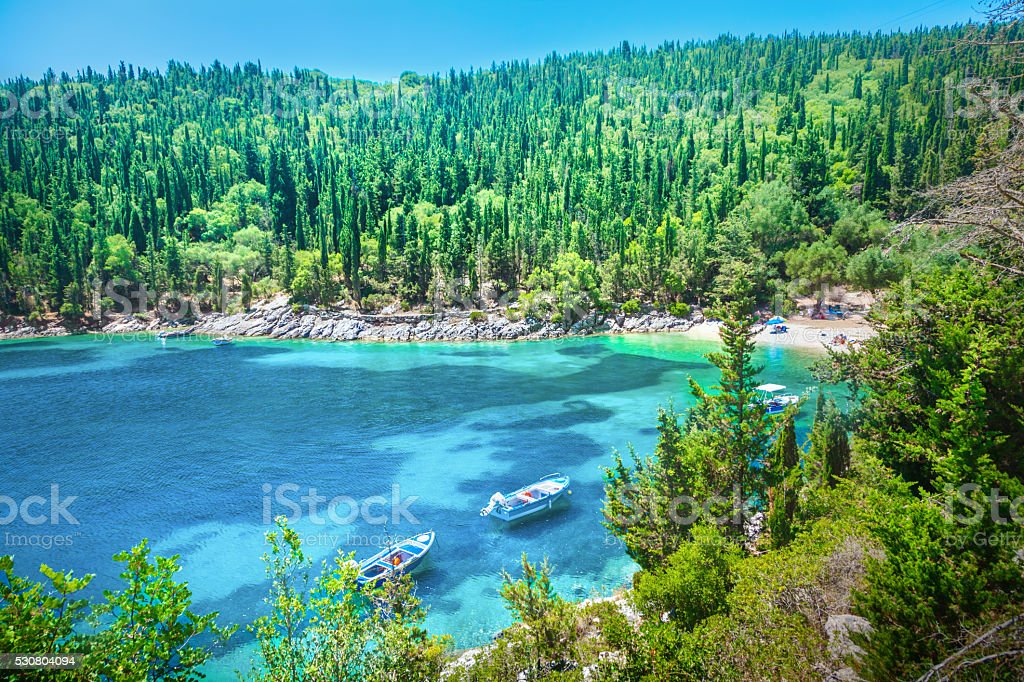 Fiskardo beach stock photo