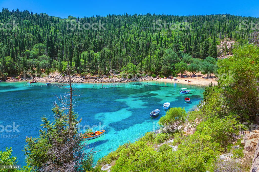 Fiskardo beach stock photo