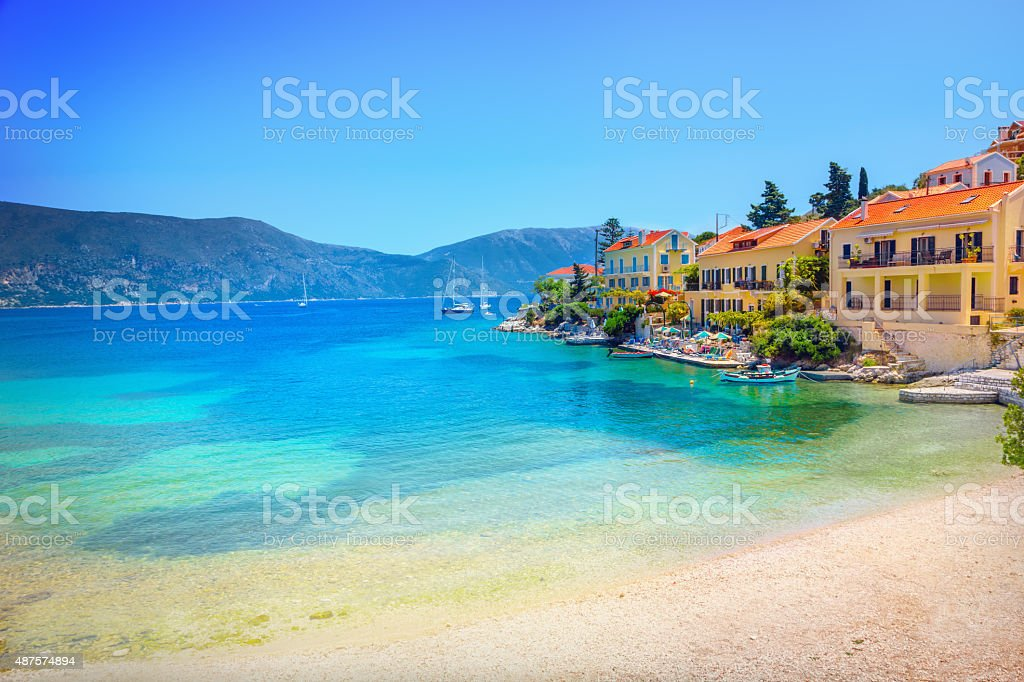 Fiskardo village stock photo