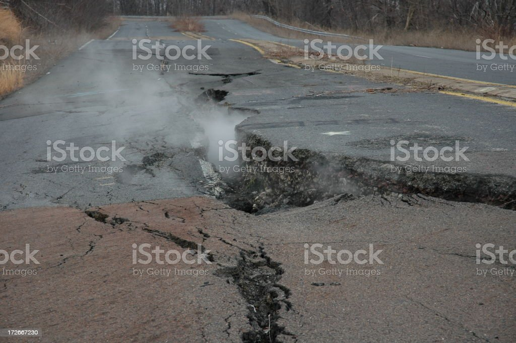 Fissure through Road royalty-free stock photo
