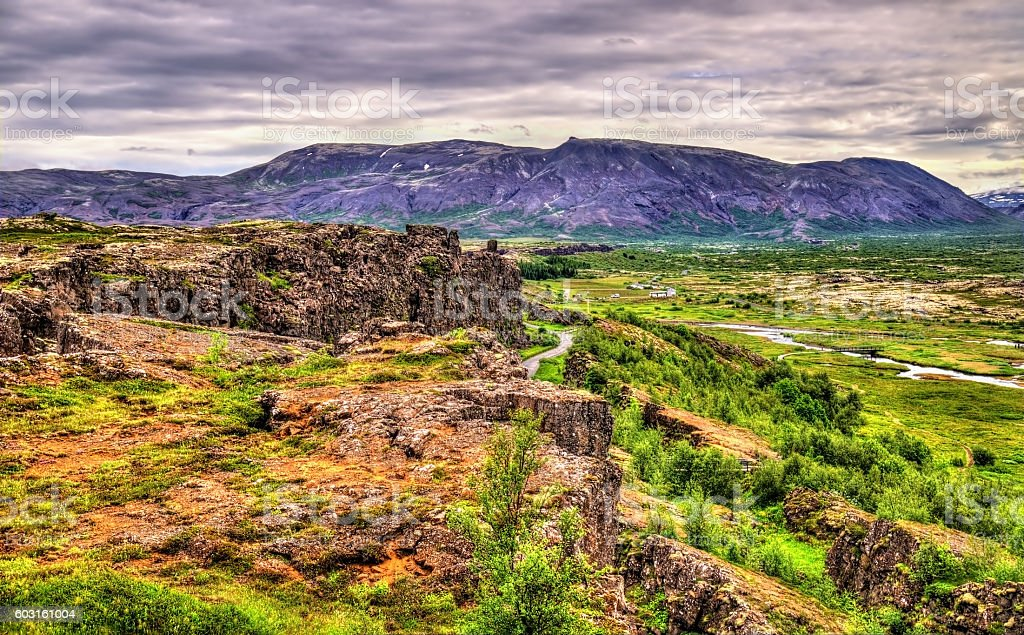 Fissures of the Mid-Atlantic Ridge in the Thingvellir National stock photo