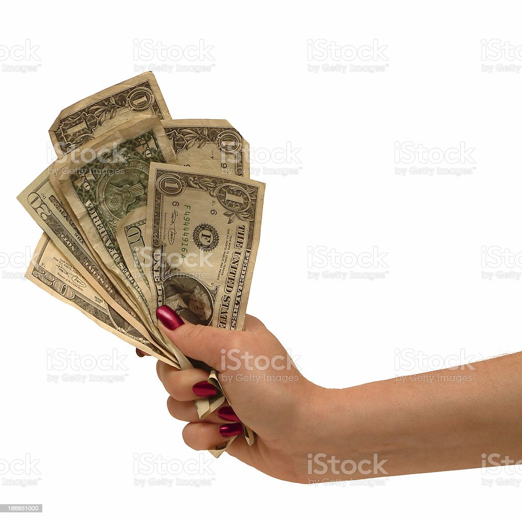 Fist full of dollars. royalty-free stock photo