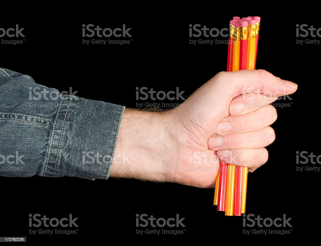 A fist full of pencils royalty-free stock photo