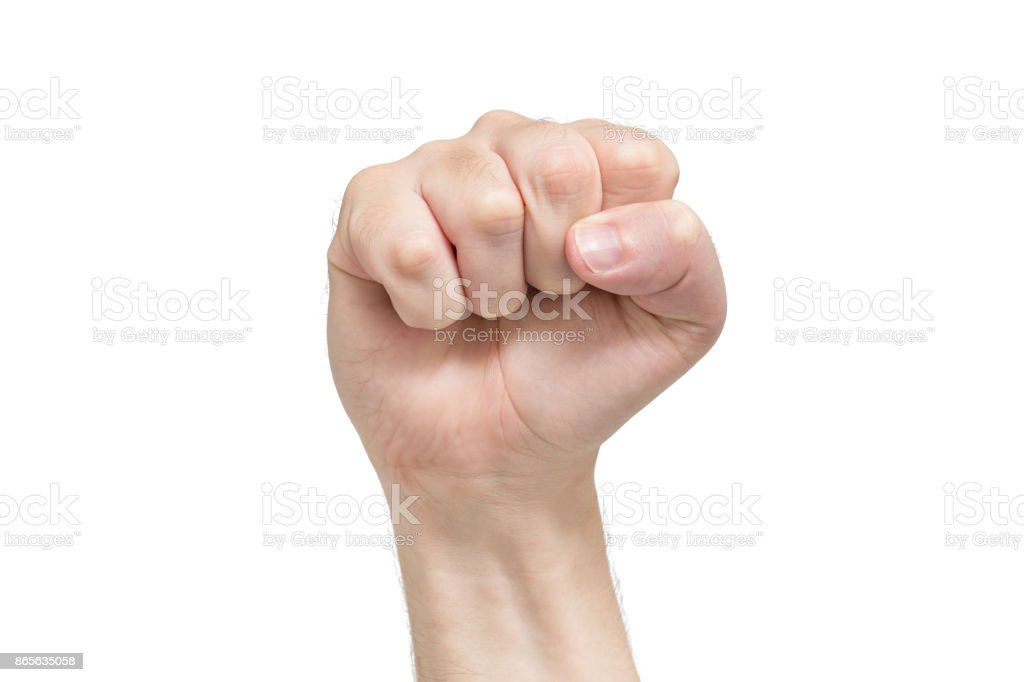 Fist hand on white background, protest symbol. Front view stock photo