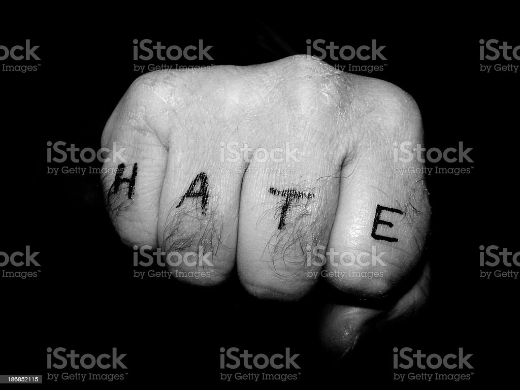 Fist - Hate stock photo