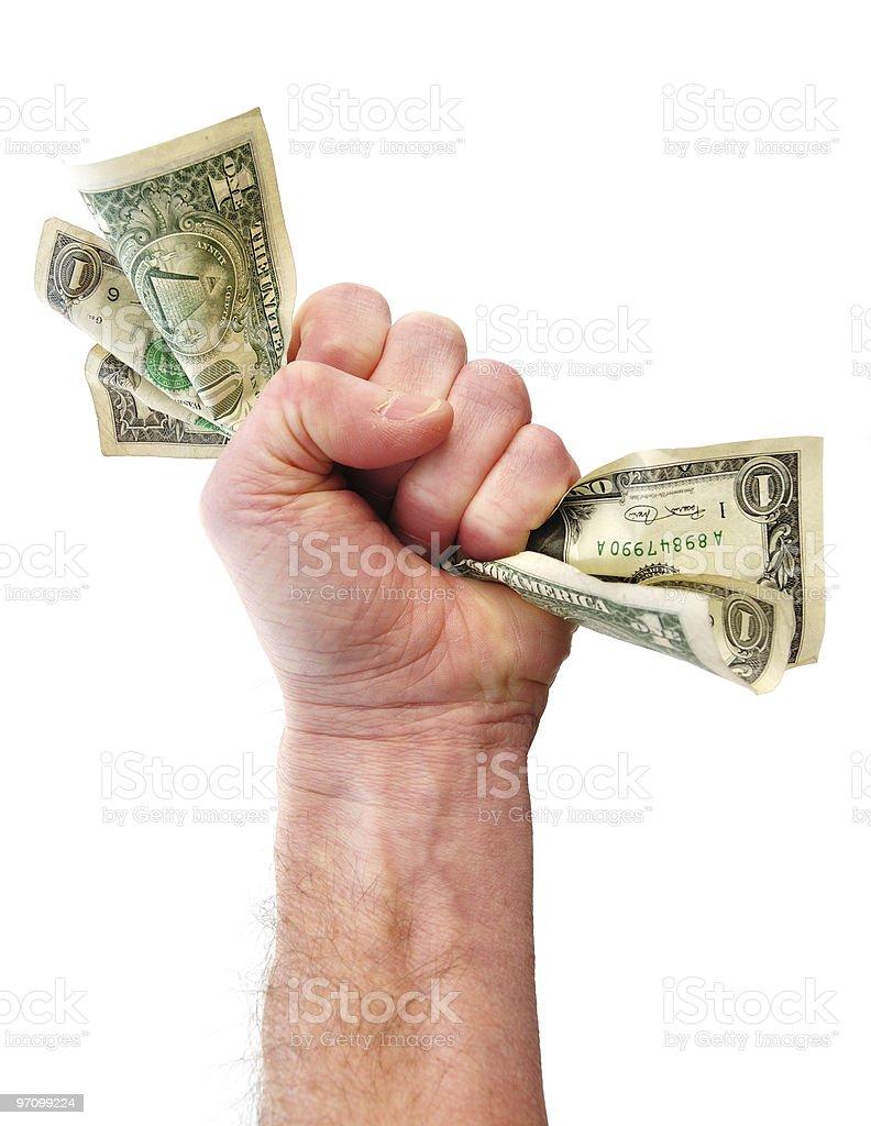 Fist Holding Dollar Bills royalty-free stock photo