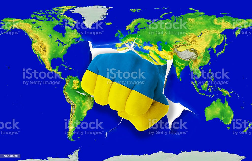 Fist In Flag Of Ukraine Punching World Map Stock Photo More