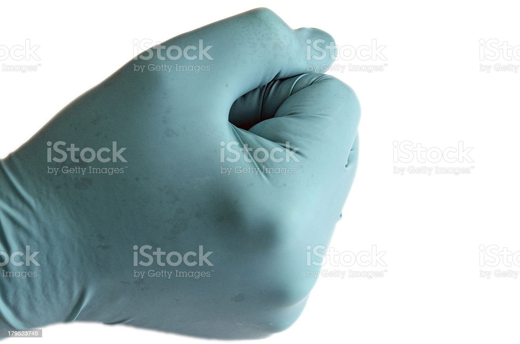 Faust im Handschuh stock photo