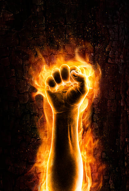 Fist of fire stock photo