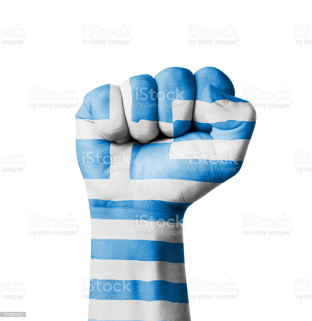 Fist of Greece flag painted stock photo