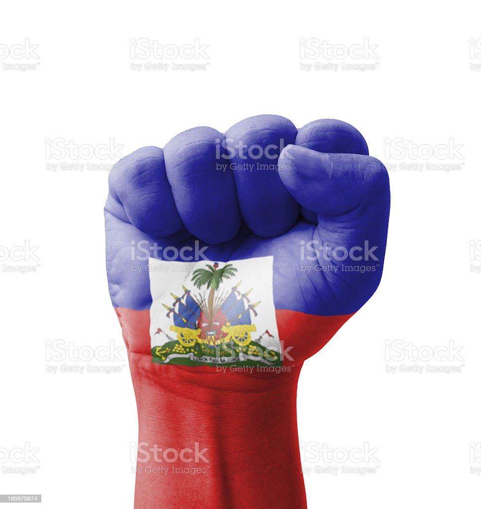 Fist of Haiti flag painted, multi purpose concept stock photo
