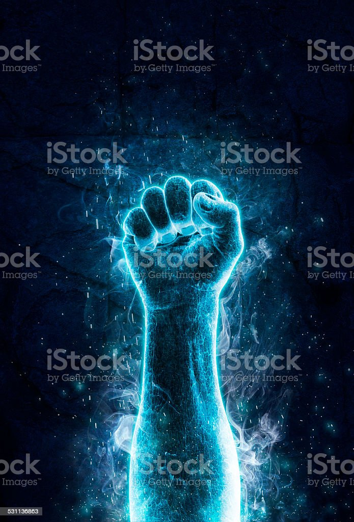 Fist of ice stock photo
