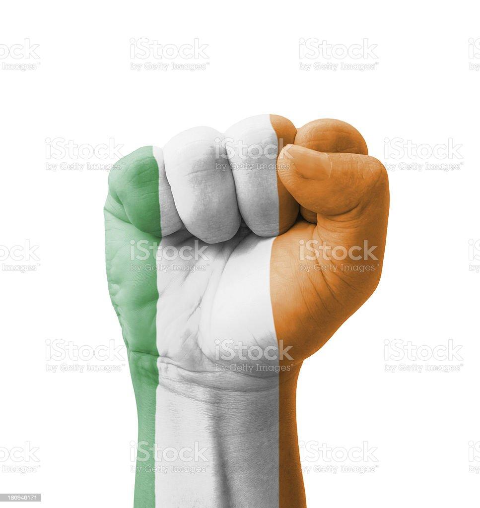 Fist of Ireland flag painted, multi purpose concept stock photo