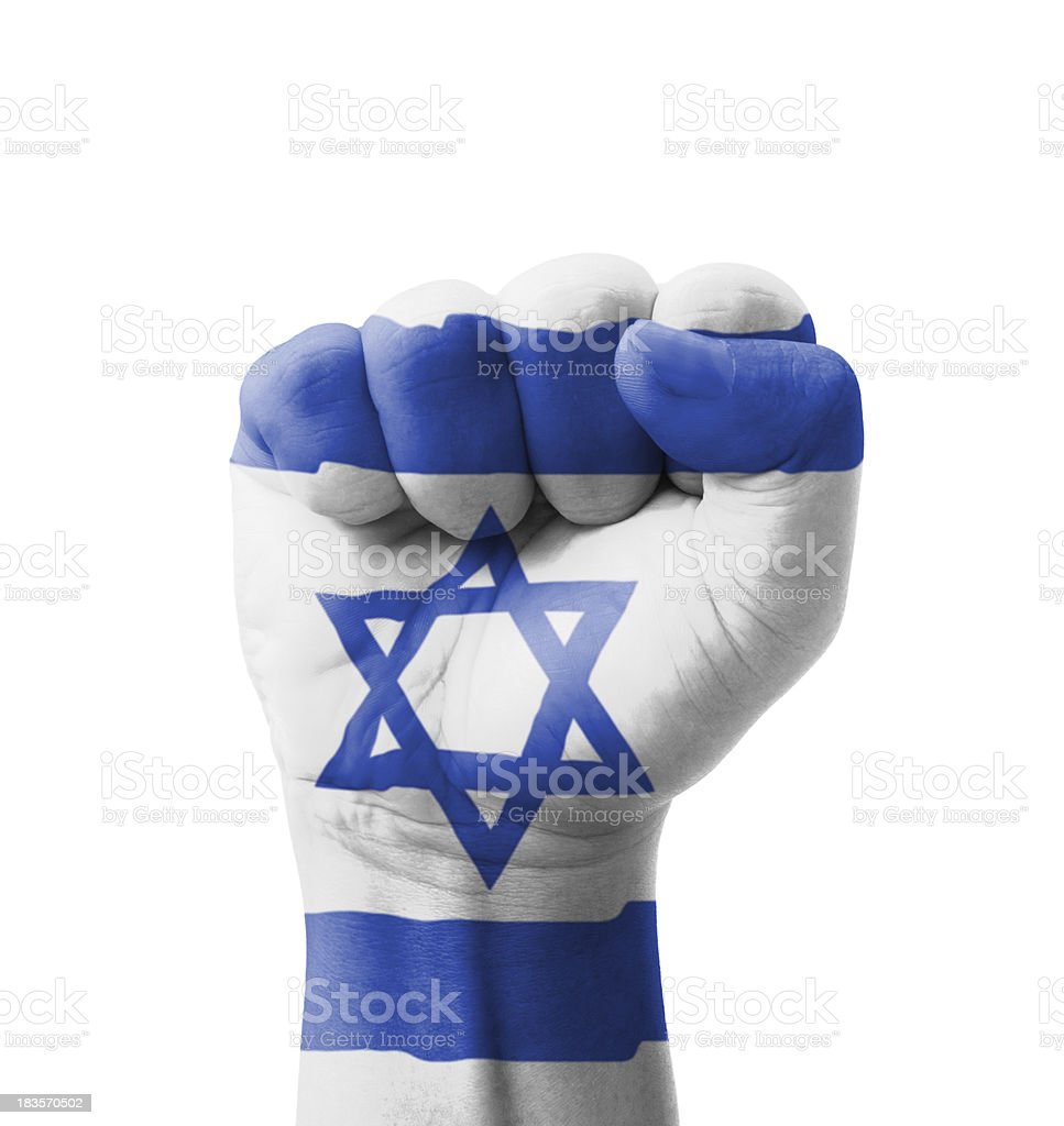 Fist of Israel flag painted, multi purpose concept stock photo