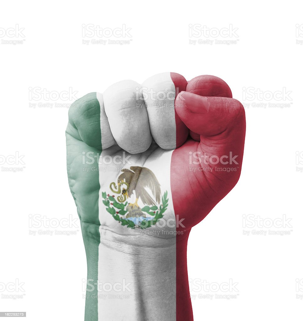 Fist of Mexico flag painted, multi purpose concept stock photo