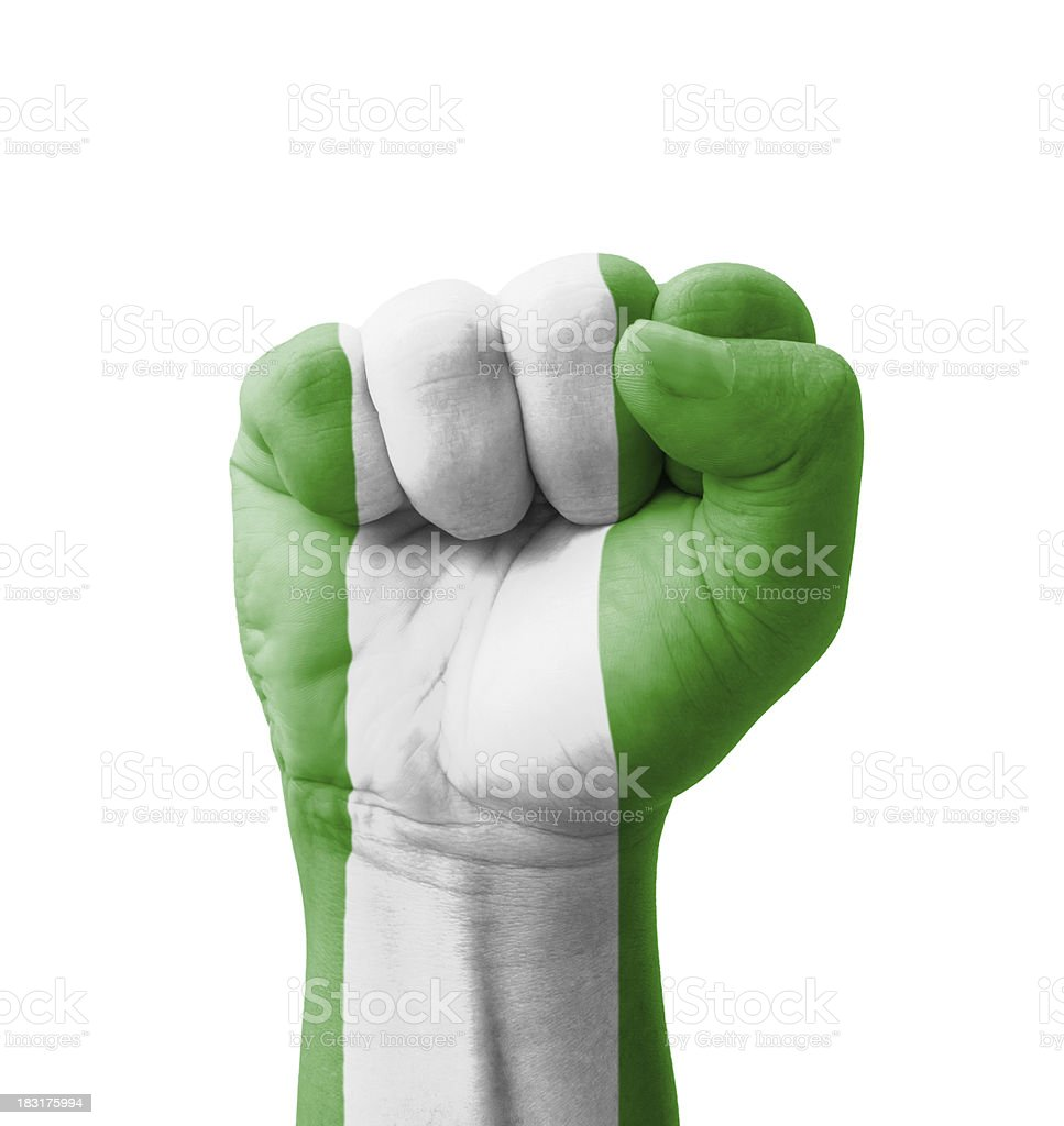 Fist of Nigeria flag painted, multi purpose concept stock photo