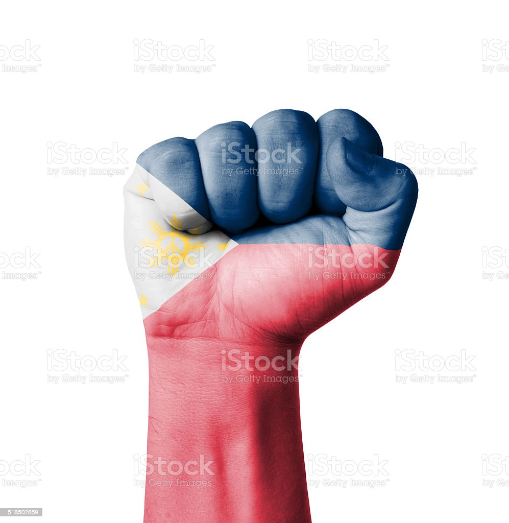 Fist of Philippines flag painted stock photo
