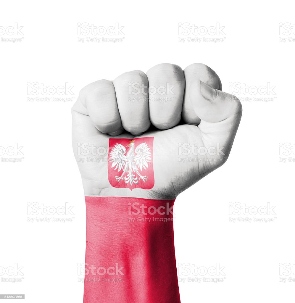 Fist of Poland flag painted stock photo