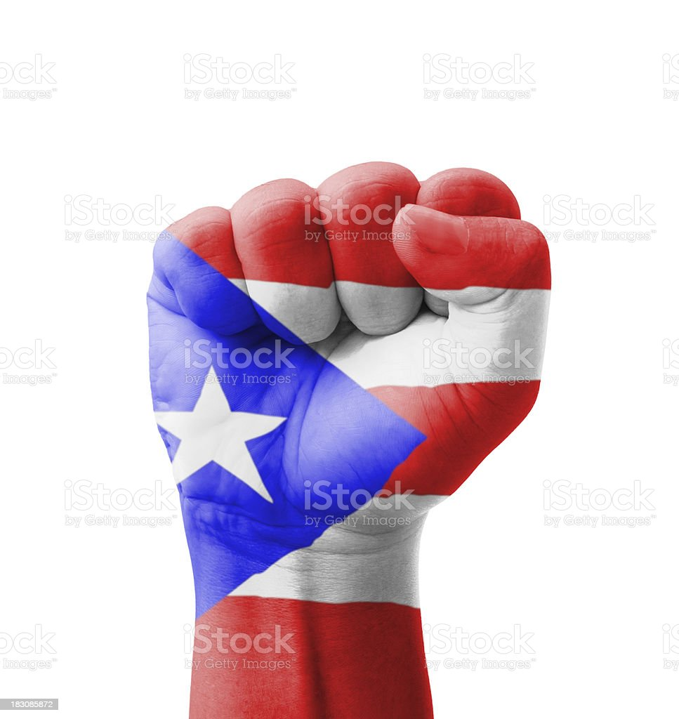 Fist of Puerto Rico flag painted, multi purpose concept stock photo
