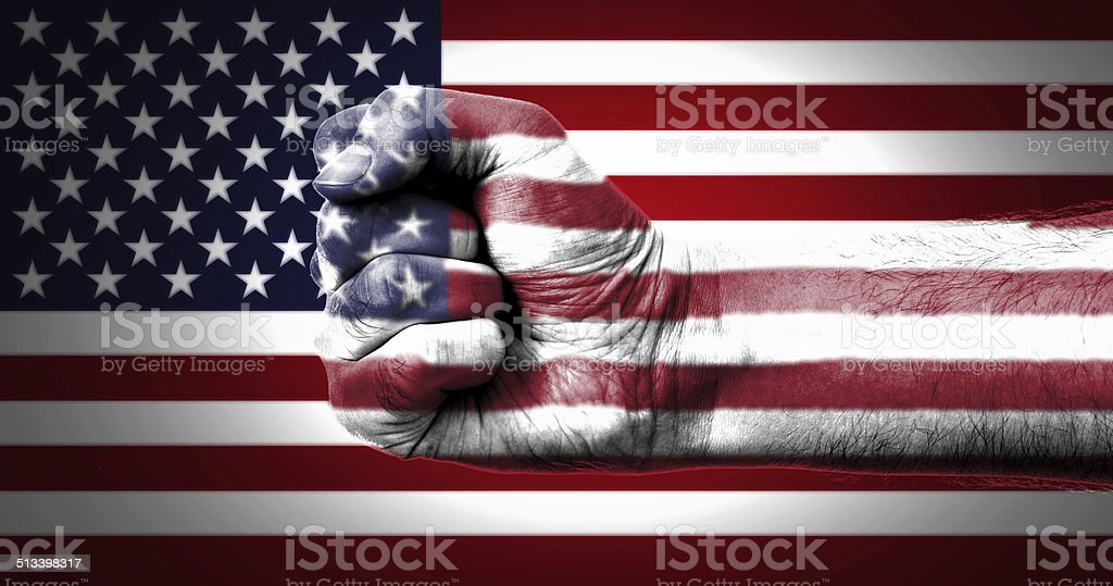 Fist Over Flag Of USA stock photo