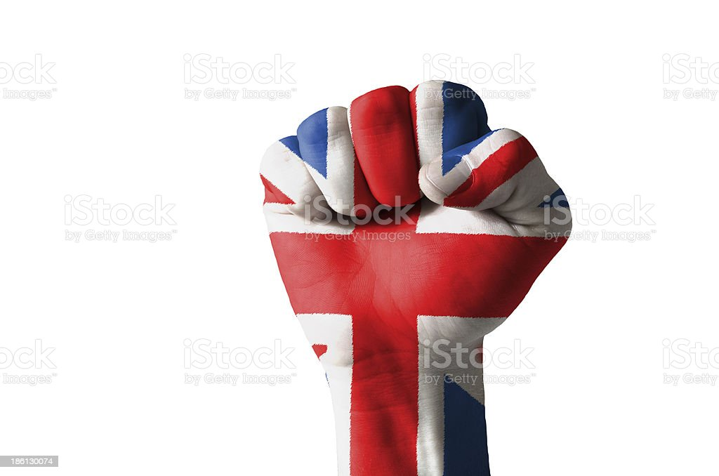 Fist painted in colors of great britain flag royalty-free stock photo