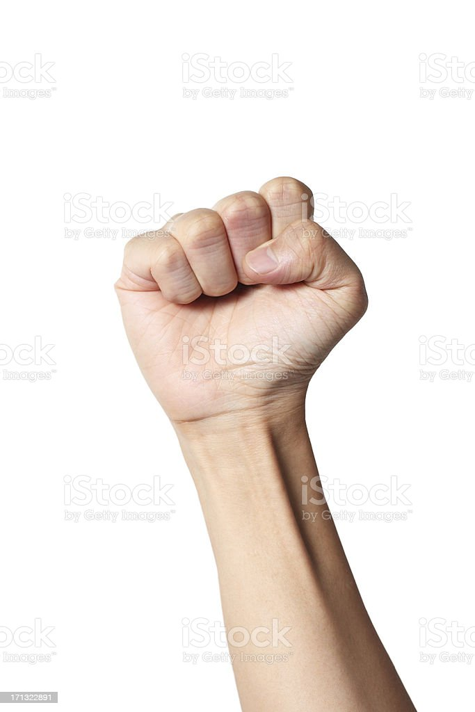 Fist Raising in the Air stock photo