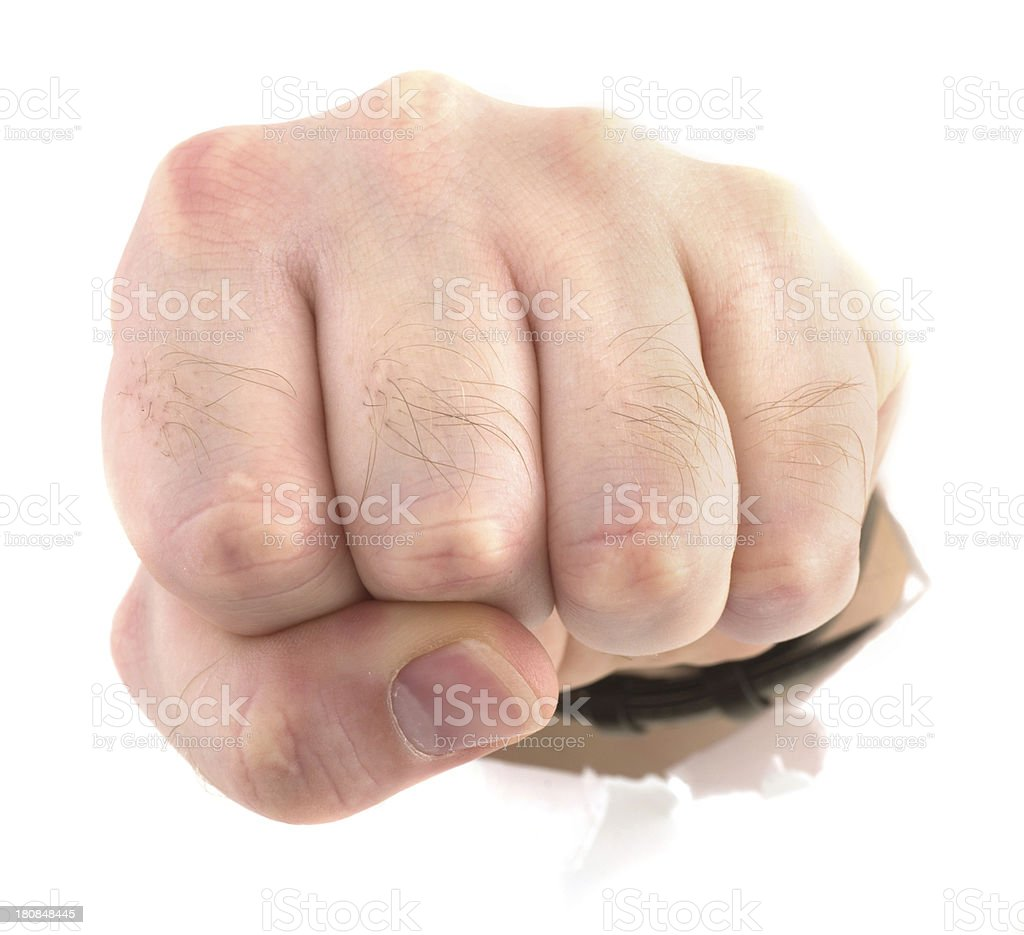 fist through wall - anger royalty-free stock photo