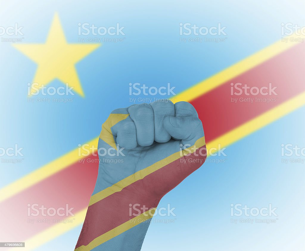 Fist wrapped in flag Democratic Republic of the Congo stock photo
