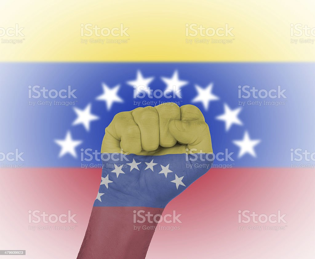Fist wrapped in the flag of Venezuela stock photo
