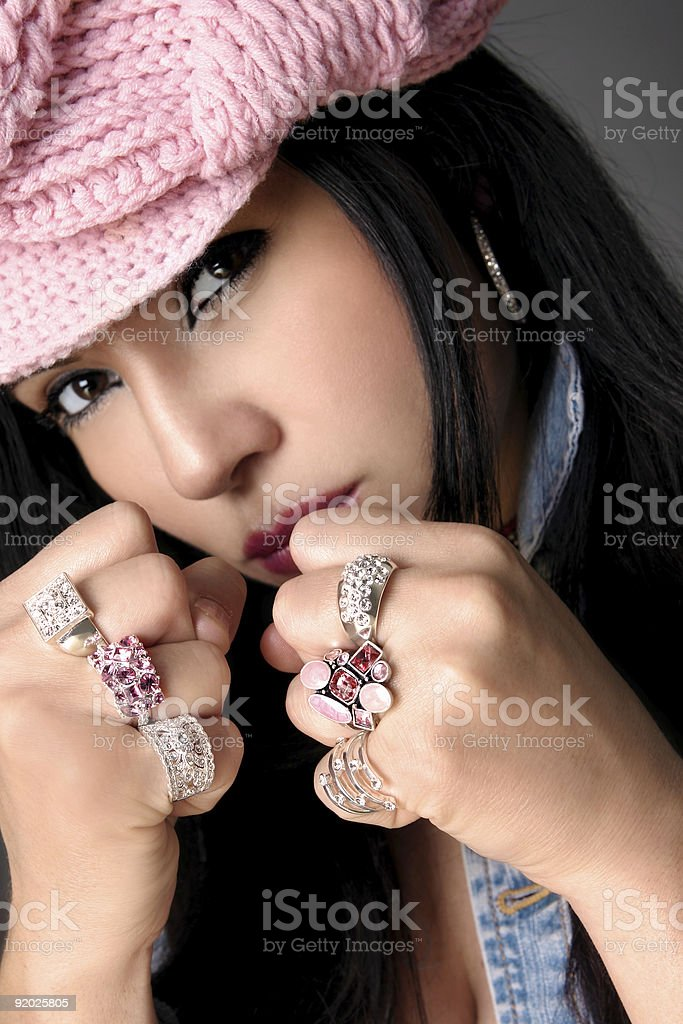 Fistful of Bejewelled rings royalty-free stock photo