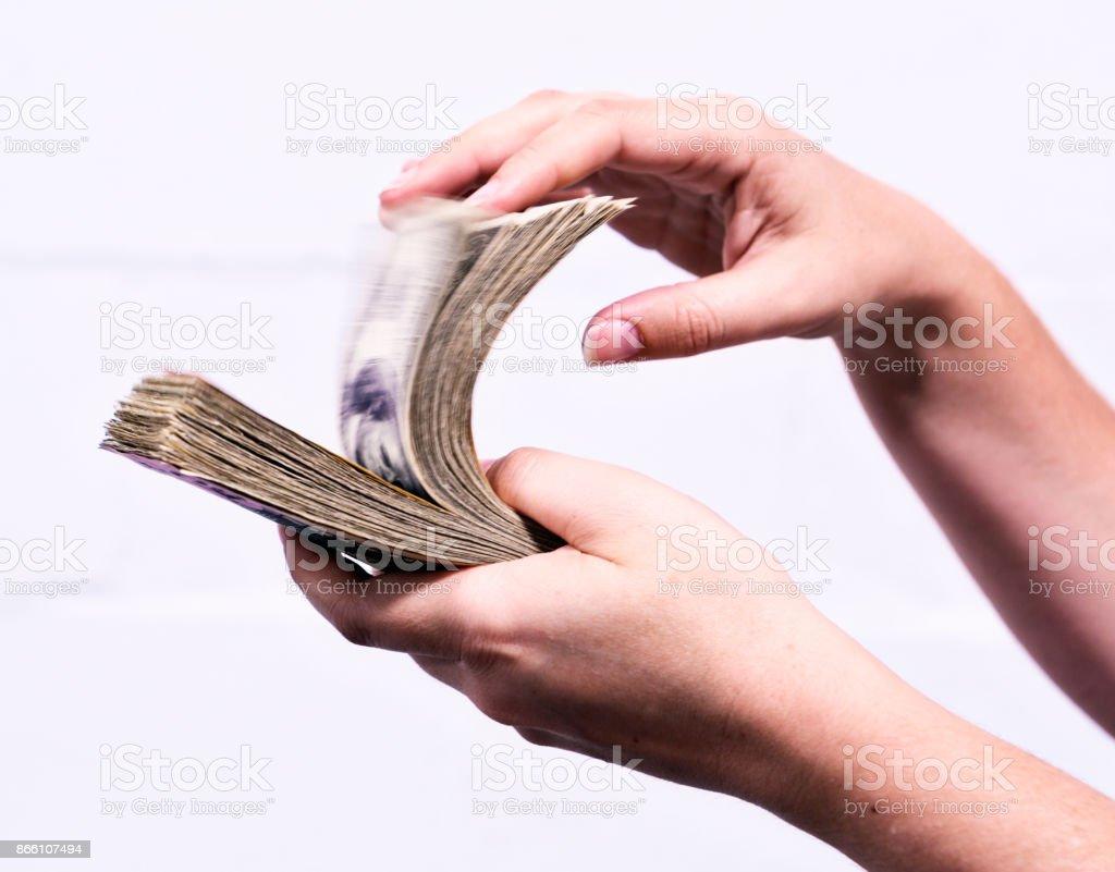 Fistful of dollars stock photo